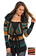 Powder River Women's Rialto Aztec Knit Cardigan - Black or Tan