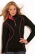 Powder River Womens Brittany 1/4 Zip Fleece Jacket - Black