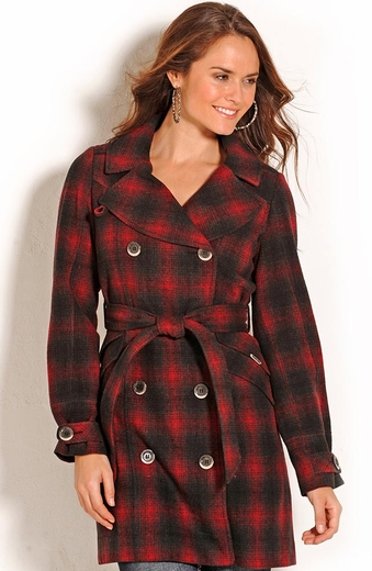 Powder River Womens Carolina Plaid Wool Coat - Black