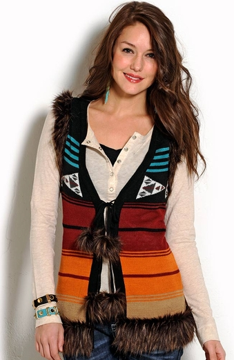 Powder River Womens Faux Fur Aztec Vest - Black
