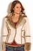 Powder River Womens Lamont Faux Suede Fur Jacket - Natural