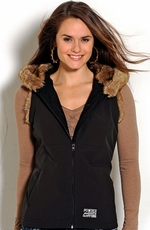 Powder River Womens Shasta Vest With Fur Hood - Black (Closeout)