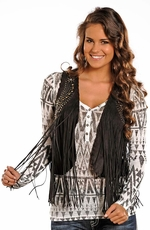 Powder River Women's Suede Fringe Vest - Black or Brown
