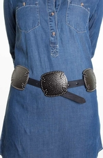 Rancho Estancia Womens Signature Concho Belt - Black/Pewter (Closeout)