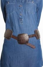 Rancho Estancia Womens Signature Concho Belt - Brown/Bronze