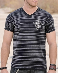 Red Chapter Men's Striped V-neck No Regrets No Excuses Tee Shirt - Black (Closeout)