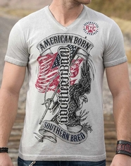 Red Chapter Men's V-neck American Born Southern Bred Tee Shirt - White Oil Wash