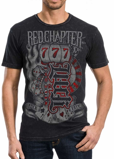 Red Chapter Mens Luck Fate Tee Shirt - Black