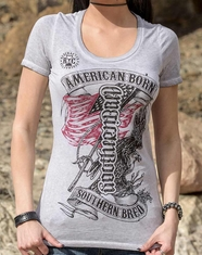 Red Chapter Women's American Born Southern Bred Tee Shirt - White Oil Wash (Closeout)