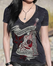 Red Chapter Women's Country Heart Rock N Roll Soul Tee Shirt - Vintage Black
