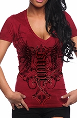 "Red Chapter Womens ""Saint/Sinner"" Tee Shirt - Red"