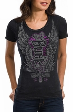 Red Chapter Womens Short Sleeve Rock Angel Tee Shirt - Black (Closeout)