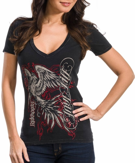 Red Chapter Womens Short Sleeve Live True/Love Life Tee Shirt - Black