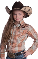 Reisistol RU Girls Cowgirl Amanda Long Sleeve Plaid Western Shirt with Embroidery