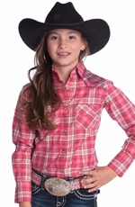 Resistol Girl's Katie Ranee Plaid Shirt - Pink