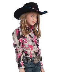 Resistol Girl's RU Long Sleeve Camo Top - Pink (Closeout)