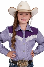 Resistol Girls Rodeo Wear Fringe Western Shirt - Purple