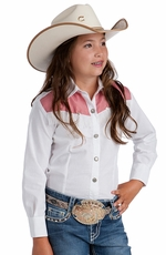 Resistol Girls Rodeo Wear Fringe Western Shirt - White/Red