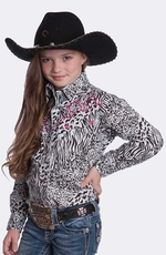 Resistol Girls RU Safari Print Snap Western Shirt - White