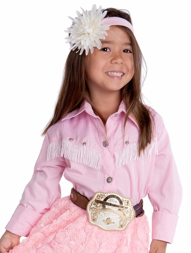Resistol Girls Rodeo Wear Fringe Western Shirt - Pink