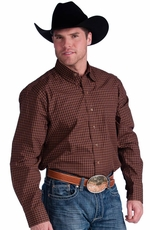 Resistol Mens Ranch Check Button Down Western Shirt - Brown
