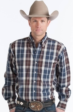 Resistol Mens Ranch Plaid Button Down Western Shirt - Blue/Brown