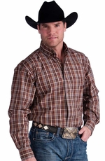Resistol Mens Ranch Plaid Button Down Western Shirt - Red