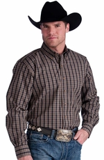 Resistol Mens Ranch Plaid Button Down Western Shirt - Taupe
