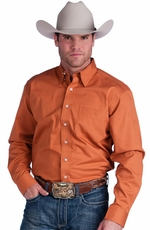 Resistol Mens Ranch Solid Button Down Western Shirt - Burnt Orange