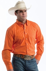Resistol Mens Ranch Solid Button Down Western Shirt - Orange