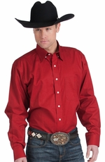 Resistol Mens Ranch Solid Button Down Western Shirt - Ruby Red