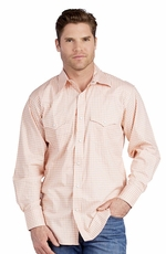 Resistol Mens Rancho Estancia Inlay Snap Western Shirt - Melon