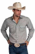 Resistol RU Apparel Men's Zorro Print Snap Western Shirt - Blue (Closeout)