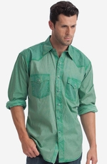 Resistol Mens Two Sides Snap Western Shirt - Green