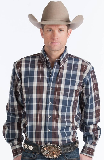 Resistol Mens Ranch Plaid Button Down Western Shirt - Blue/Brown (Closeout)