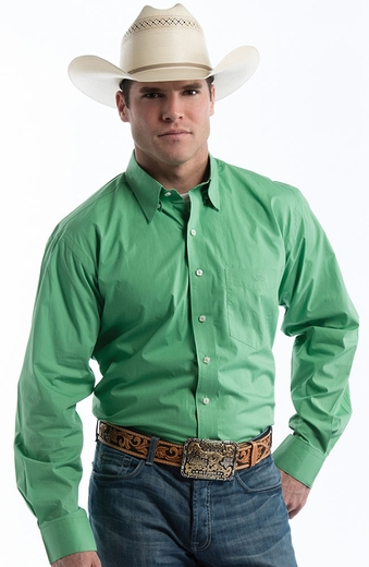 Resistol Mens Ranch Solid Button Down Western Shirt - Lime
