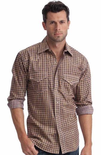 Resistol Mens Blue Eye Acid Wash Snap Western Shirt - Tan