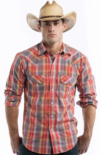 Resistol Mens Find the Lurex Plaid Snap Western Shirt - Orange