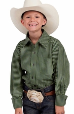 Resistol Ranch Boys Cace Check Button Down Western Shirt - Green (Closeout)