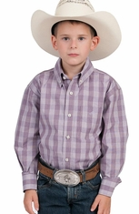Resistol Ranch Boys Morgan Button Down Western Shirt - Purple (Closeout)