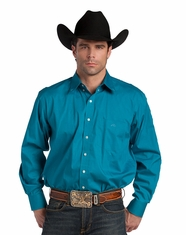 Resistol Ranch Men's Long Sleeve Solid Button Down Shirt - Teal (Closeout)