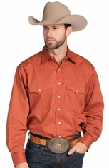 Resistol Ranch Men's Solid Button Down Shirt - Brittle Rust