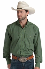 Resistol Ranch Mens Cace Check Button Down Western Shirt - Green