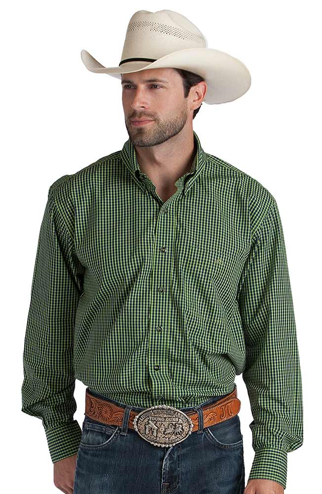Resistol Ranch Mens Cace Check Button Down Western Shirt - Green (Closeout)