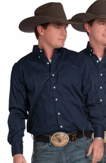 Resistol Ranch Mens Long Sleeve Solid Button Down Western Shirt - Blue
