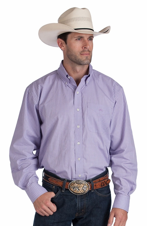 Resistol Ranch Mens Plaid Button Down Western Shirt - Purple (Closeout)