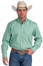 Resistol Ranch Mens Solid Button Down Western Shirt - Mint (Closeout)