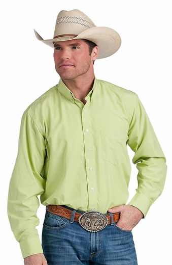 Resistol Ranch Mens Solid Button Down Western Shirt - Kiwi (Closeout)