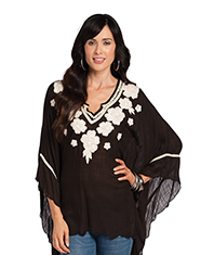 Resistol Rancho Women's Winter White Flowers Kaftan - Black (Closeout)