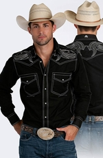 Resistol RU Mens Captain Snap Western Shirt - Black